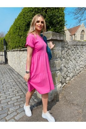 Paris Jersey Tiered Dress Pink
