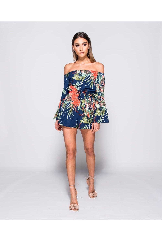 1b57a1c0ba5 Parisian Clothing Tropical Print Bardot Playsuit - Parisian Clothing ...