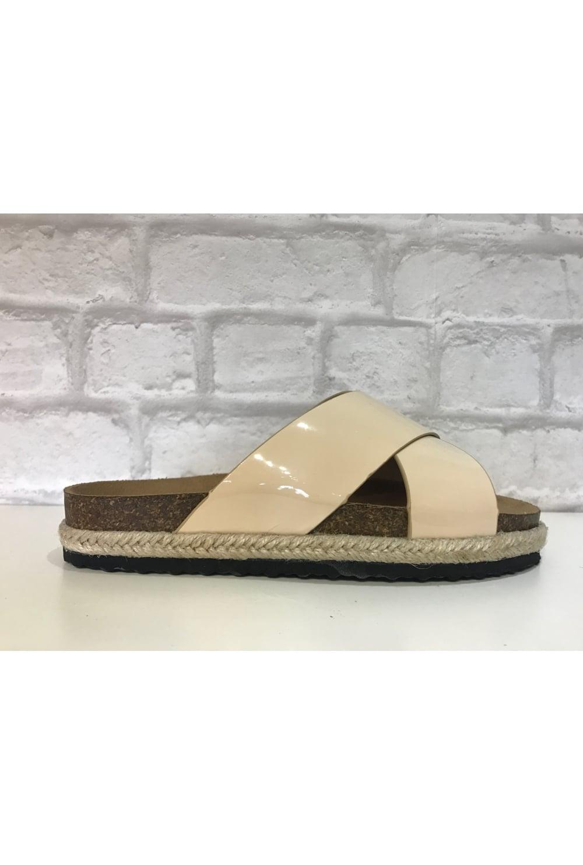 Patent Cross Strap Sandals Cream From Ruby Room Uk Sandal Strape On