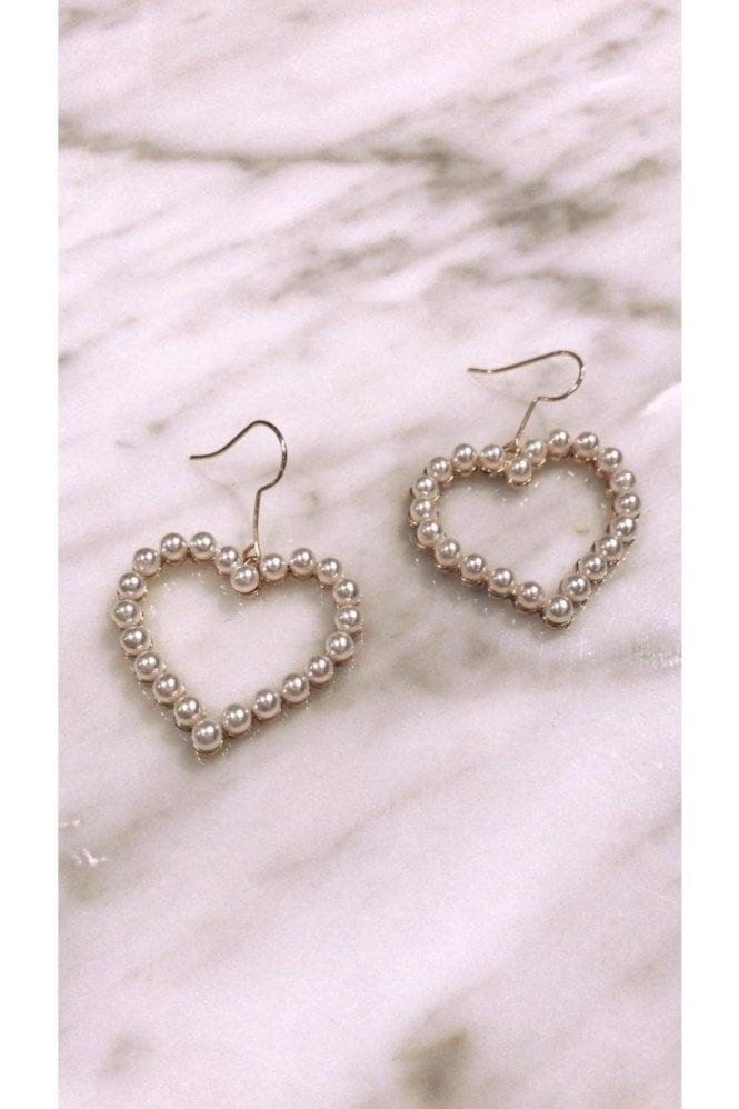 Pearl Heart Hanging Earrings
