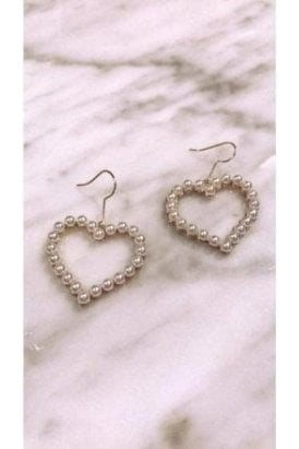 Pearl Heart Hanging Earrings