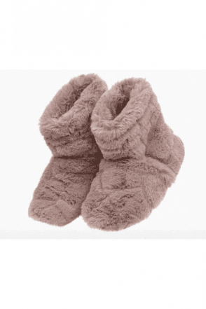 Pink Faux Fur Slipper Boots Microwaveable
