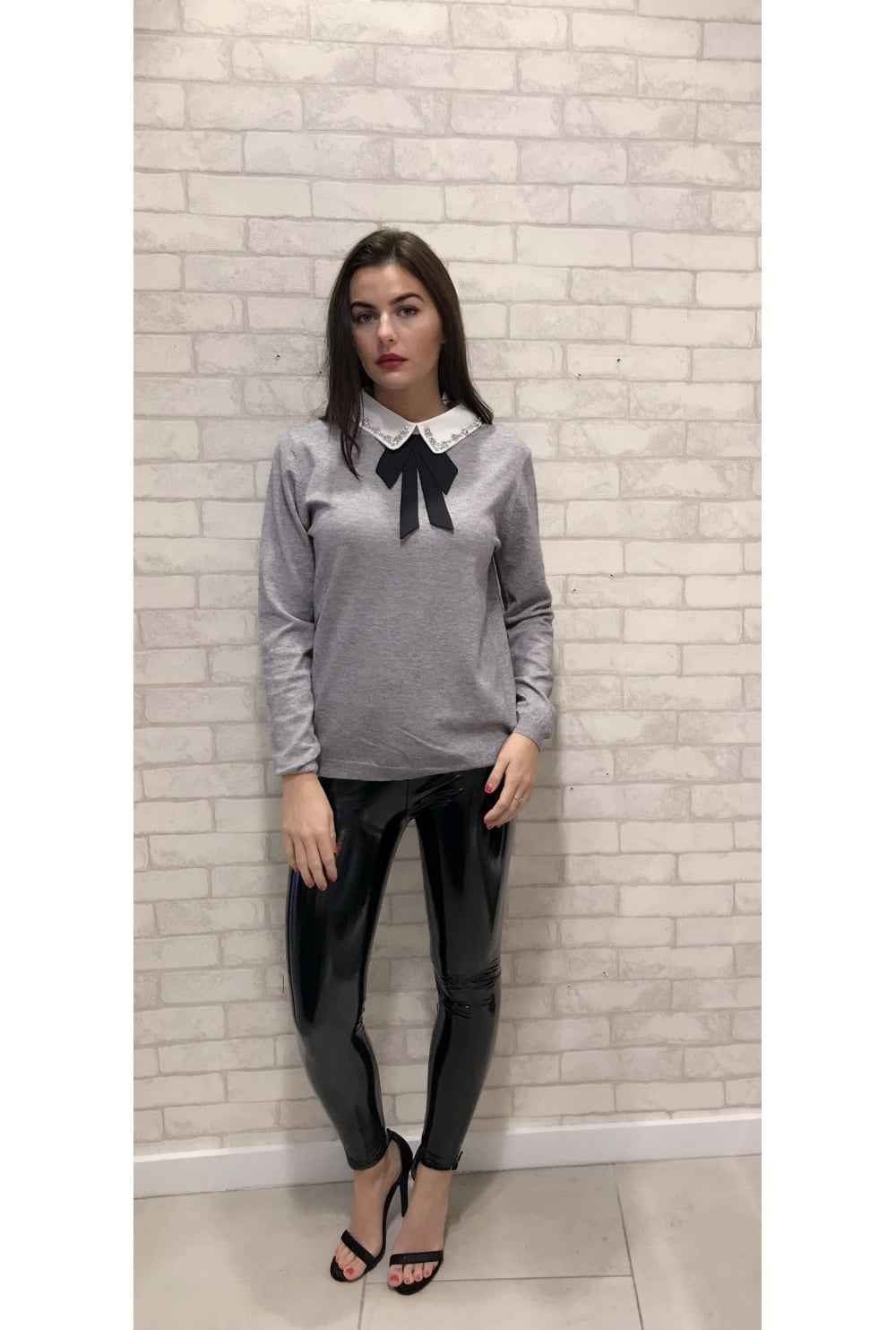 Presley Pussy Bow Collared Jumper Grey