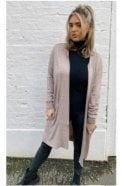 Ribbed Cardigan with Pockets Taupe