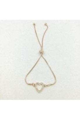 ROSE GOLD COLOURED DIAMONTE HEART BRACELET