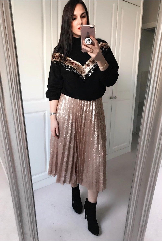 4d0b54281e14 Rose Gold Sequin Skirt - from Ruby Room UK