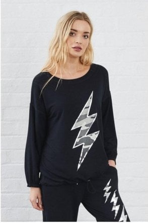 SALE A POSTCARD FROM BRIGHTON VESPER CAMO LIGHTNING BOLT SWEAT