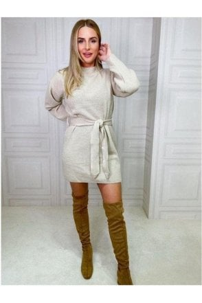 SALE Alicia High Neck Knitted Mini Beige
