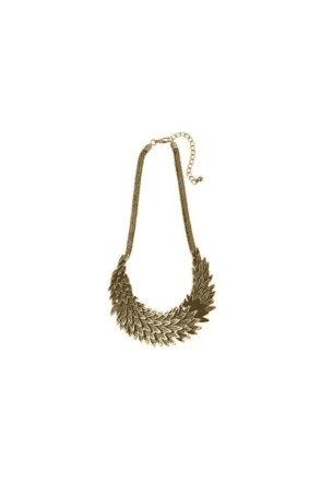 SALE Antic Gold Overlapping Leaf Necklace