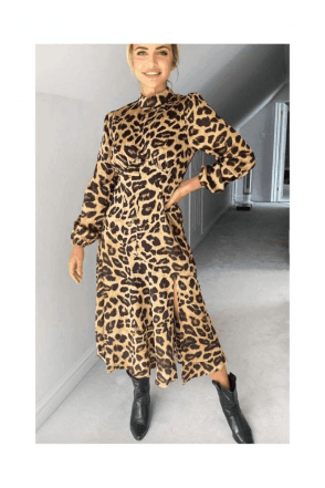 SALE Camel Leopard Print Silky High Neck Dress