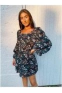 SALE Charlotte Square Neck Puff Sleeves Dress Black Floral