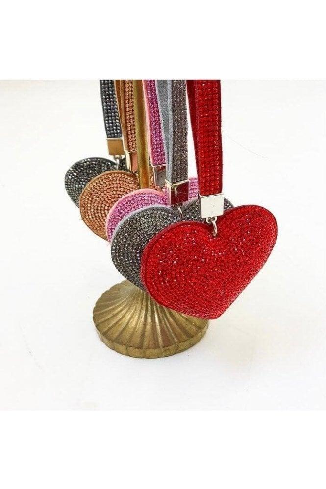 SALE Diamante Heart Keyring