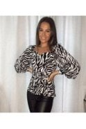 SALE  Diana Tie Waist Puff Sleeves Top Zebra