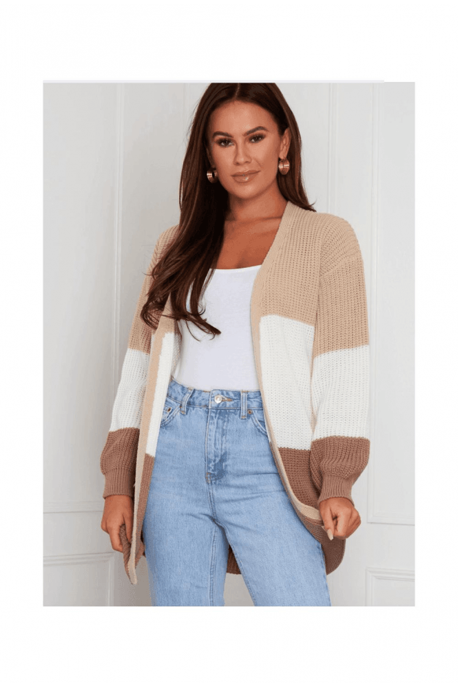 SALE Emery Panelled Longline Cardigan BEIGE