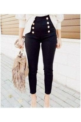 SALE High waist leather Look button pant