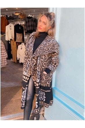 SALE  Hope Cardigan Coat Leopard