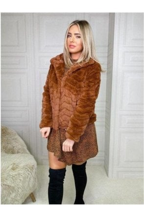 SALE Kate Faux Fur Jacket Rust
