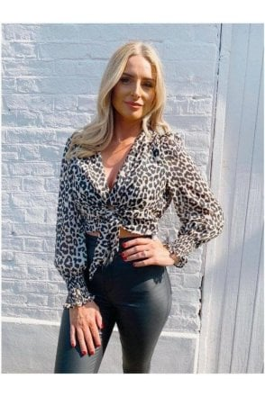 SALE Lottie Knot Blouse Leopard