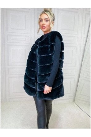 SALE Luxurious Faux Fur Gilet Black