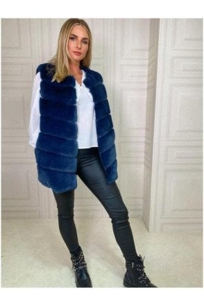 SALE Luxurious Faux Fur Gilet Blue
