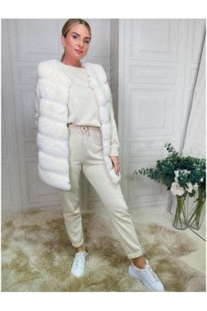 SALE  Luxurious Faux Fur Gilet Cream