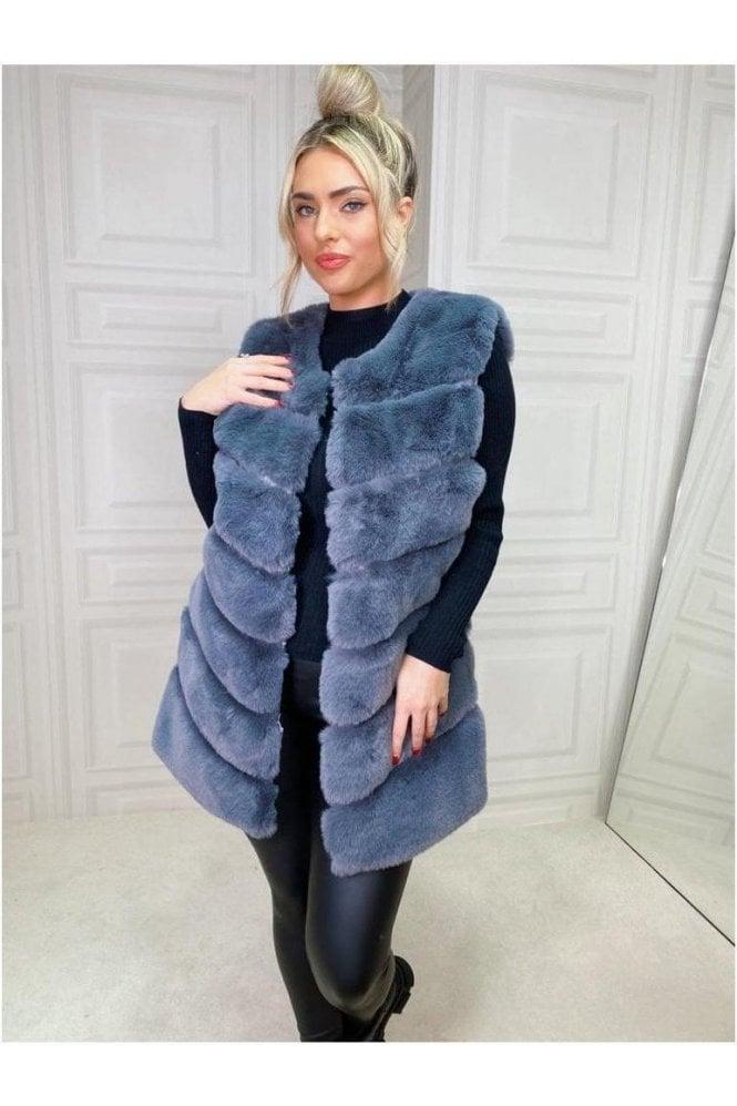 SALE Luxurious Faux Fur Gilet Smokey Grey