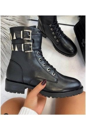 SALE METAL DETAIL BLACK ANKLE BOOT