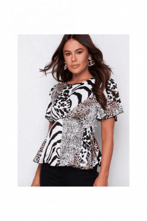 SALE mogen Angel Sleeve Peplum Top Zebra