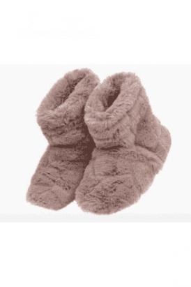 SALE Pink Faux Fur Slipper Boots Microwaveable