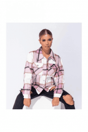 SALE Pink Oversized Checked Patch Pocket Shacket