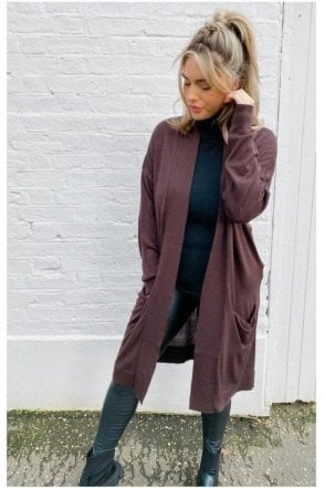SALE Ribbed Cardigan with Pockets Brown