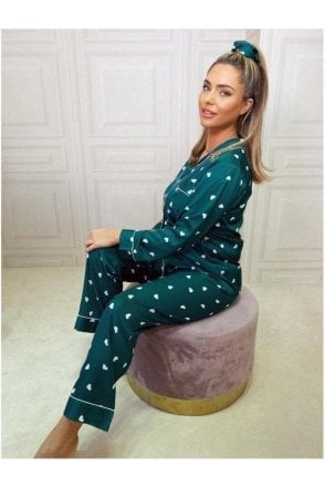 SALE Tyra Button Down Pyjamas Green Heart
