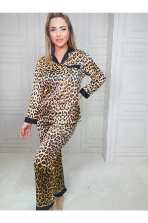 SALE Tyra Button Down Pyjamas Leopard