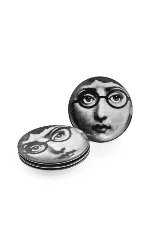 "Set of 4 Black and White Lady Face 7"" Ceramic Plates - Glasses"