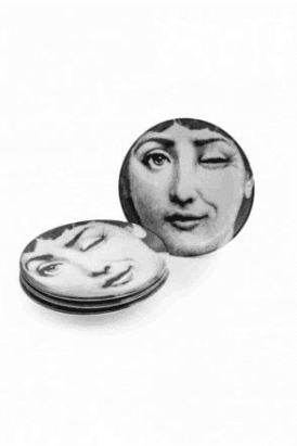"Set of 4 Black  and White Lady Face 7"" Ceramic Plates"