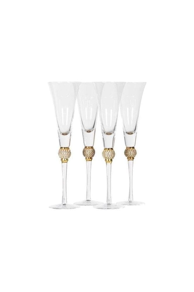 Set of 4 Diamante Ball Champagne Glasses - Click and Collect Only