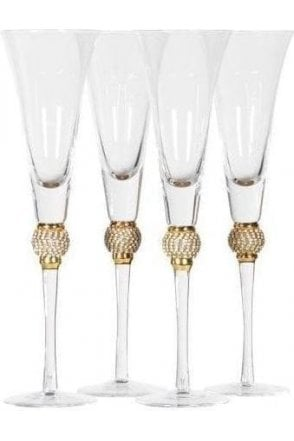 Set of 4 Diamante Ball Champagne Glasses