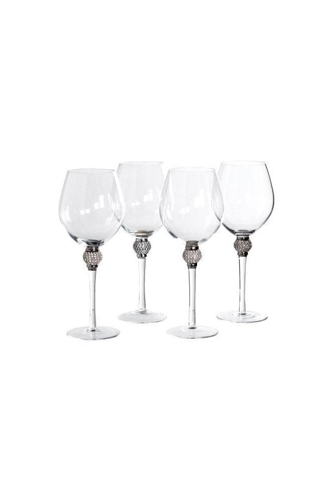 Set of 4 Diamante Red Wine Glasses - Click and Collect only