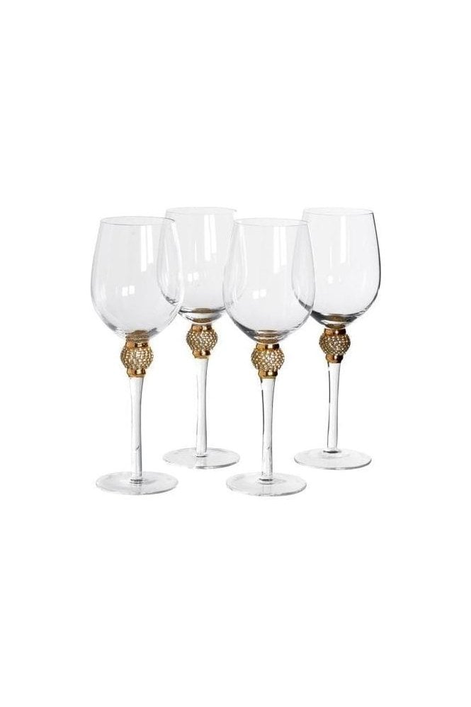 Set of 4 Diamante White Wine Glasses - Click and collect only