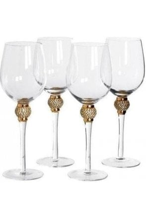 Set of 4 Diamante White Wine Glasses