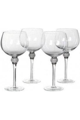 Set of 4 Diamonte Gin Glasses - Click and Collect Only