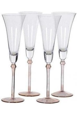 Set of 4 Rose Tint Base Champagne Flutes - Click and Collect Only