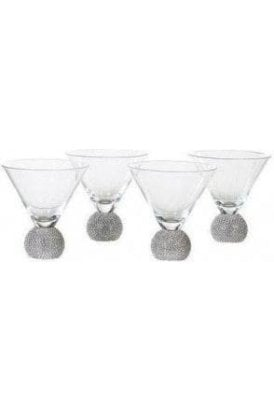 Set of 4 Silver Diamante Martini Glass - Click and Collect Only