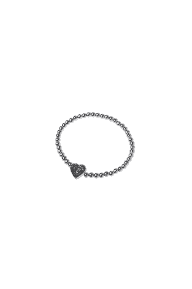 Silver Brass Bead Stretch Druzy Heart Bracelet