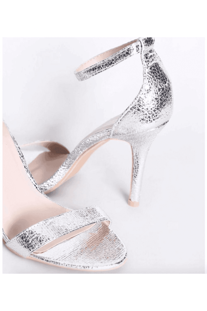 Silver Metallic Barely There Heels