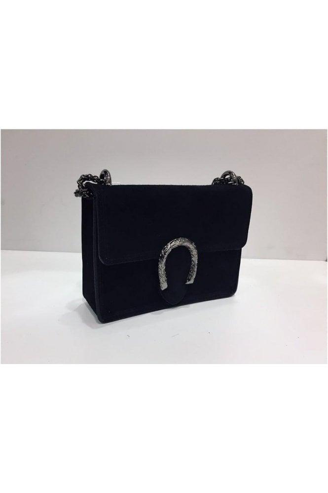 Sissy Suede Designer Inspired Bag - Black