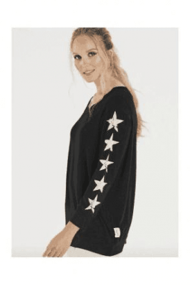 Slouchy sweat shirt with five stars