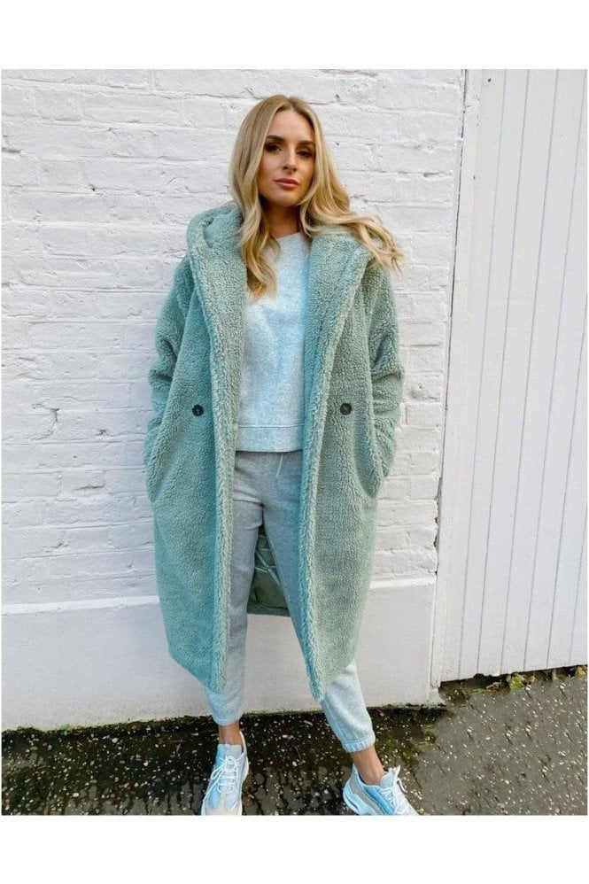Soft Teddy Fur Hooded Long Aqua