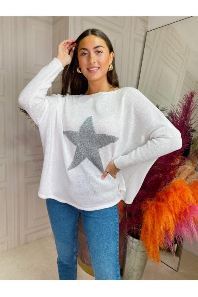 Star Knit Jumper White