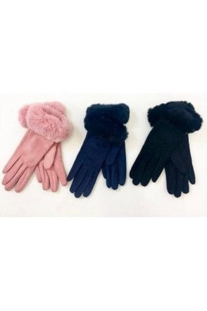 Suede effect faux fur trim glove